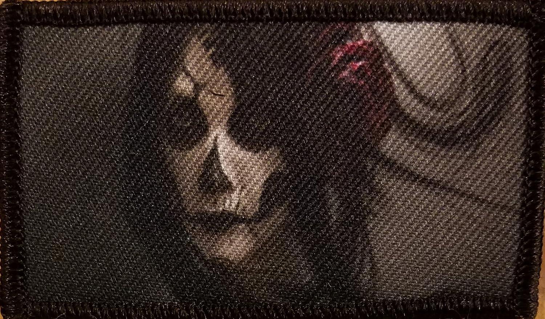 SKULL Girl Face Patch W/ VELCRO Brand Fastener Tactical Funny Bones Emblem #1 Fast Service Designs