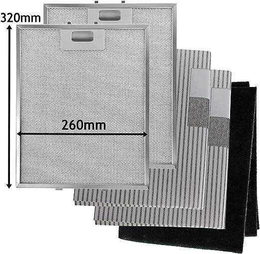 SPARES2GO Metal Mesh, Carbon + Filtros de grasa para campana extractora/ extractor de ventilación (320 x 260 mm, paquete de 5): Amazon.es: Hogar