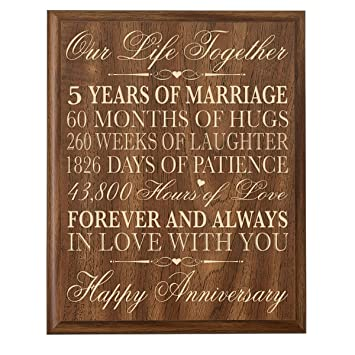 Amazoncom 5th Wedding Anniversary Wall Plaque Gifts for Couple