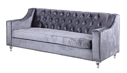 Iconic Home Dylan Modern Tufted Grey Velvet Sofa With Silver Nail Head Trim  U0026 Round Acrylic
