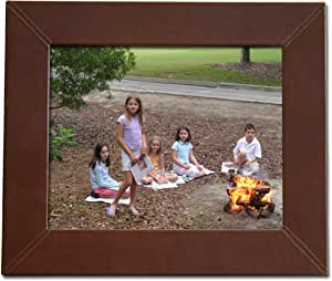 Dacasso Mocha Leather Photo Frame, 8 by 10-Inch