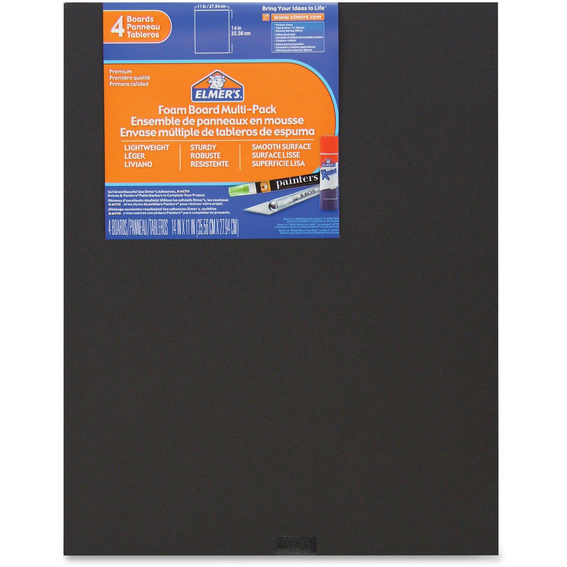 Elmers 950024 Foam Board 11''x14'' 4/PK Black