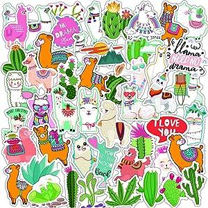 Llama Stickers 50 Pack Cute Alpaca Stickers for Kids Teens Vinyl Waterproof Stickers for Water Bottles Laptop Scrapbooking