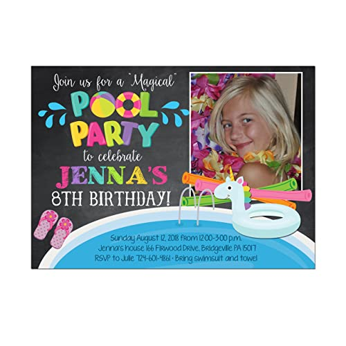 Unicorn Pool Party Photo Birthday Invitation Base Price Is For A Set Of 10 5x7