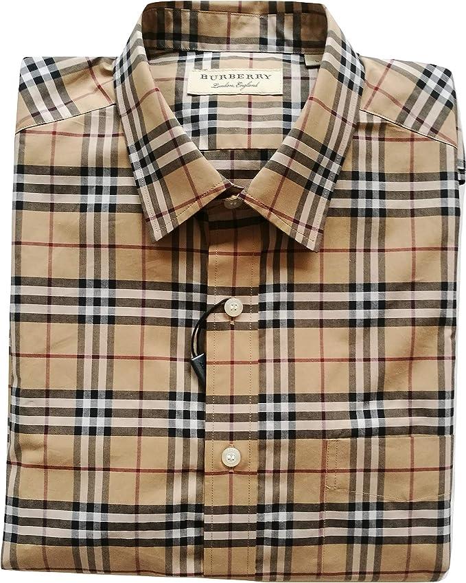 BURBERRY Camisa de Manga Larga de algodón para Hombre Alexander 80031021 Check Camel Camel Check L: Amazon.es: Ropa y accesorios