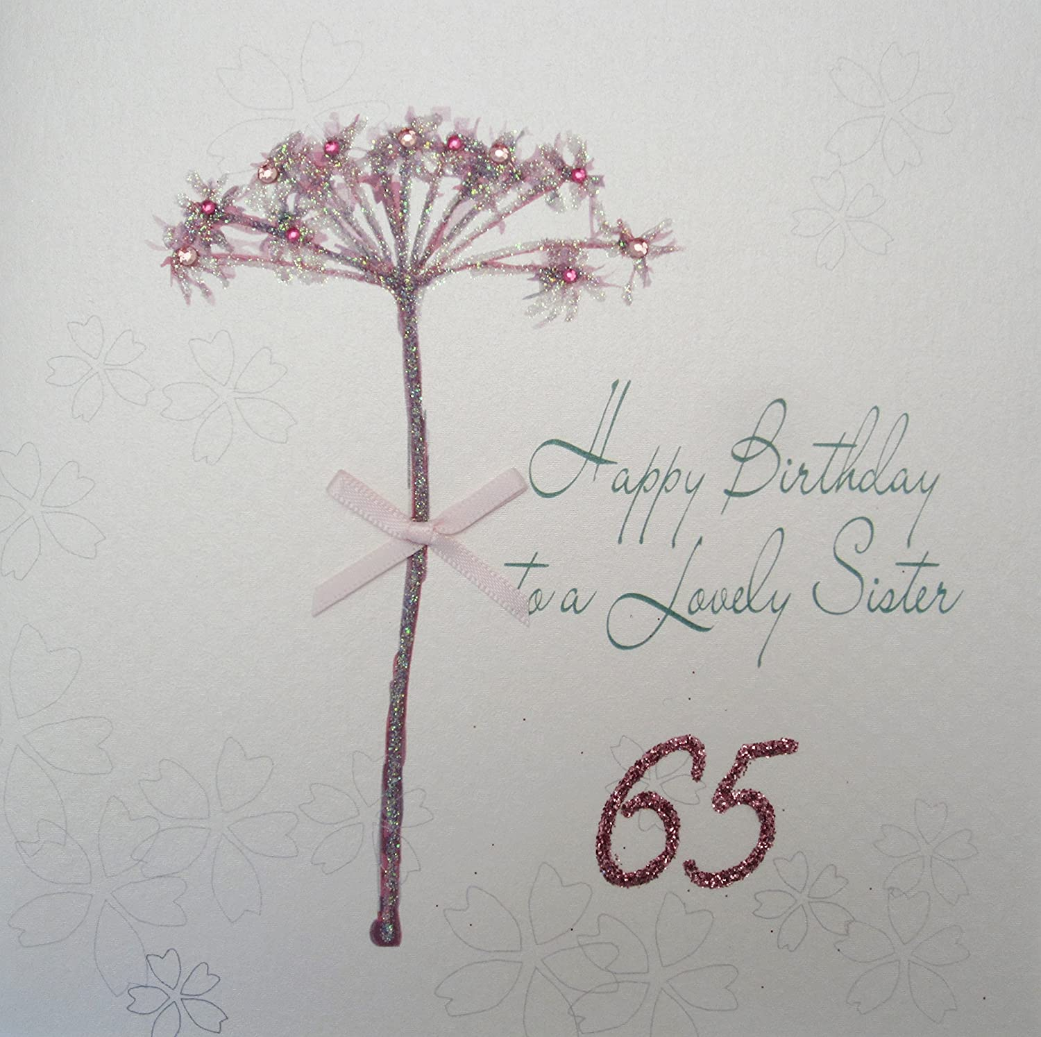 WHITE COTTON CARDS Happy Lovely Sister 65 Handmade 65th Birthday Card Dandelion
