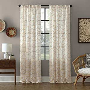 "Archaeo Fragmented Geometric Embroidery Mid-Century Modern Natural Blend Curtain, 50"" x 84"" Panel, Gold/Linen"