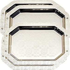 Maro Megastore (Pack of 4) Octagonal Vintage Chrome Plated Serving Tray Edge Floral Engraved Decorative Holiday Wedding Birthday Buffet Party Dessert Food Snack TLA-066