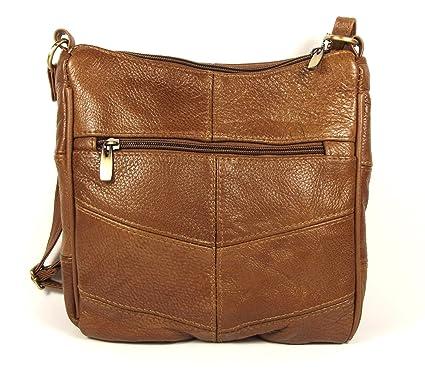 b2564f4eecac Dark Tan Genuine Real Leather Ladies Medium Handbag Shoulder Bag Long Strap,  Cross the Body