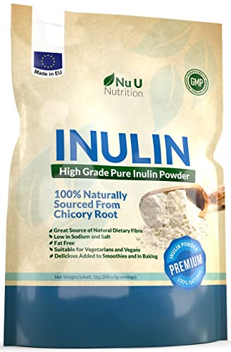 Inulin High Grade Prebiotic Fibre Powder 1kg made in EU from all Natural Chicory Root (Fructo Oligo Saccharide (FOC)) in Resealable Pouch by Nu U Nutrition