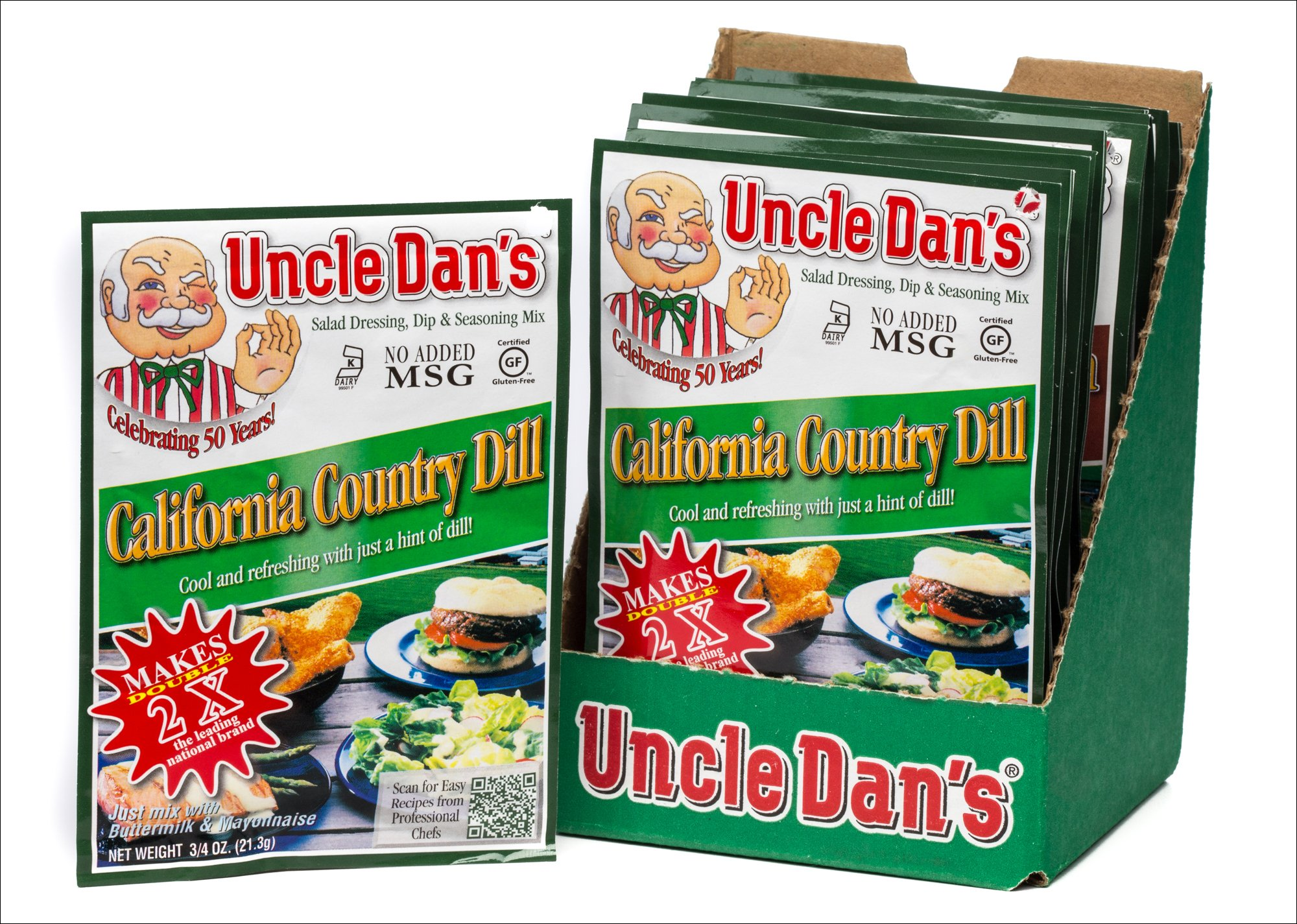 Uncle Dan's California Country Dill Dressing, Dip, & Seasoning Mix - 12 Pack Case