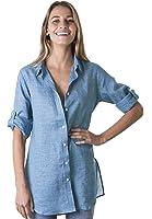 CAMIXA Women's Linen Shirt Dress Button-Down Casual Tunic Simple Chic Coverup
