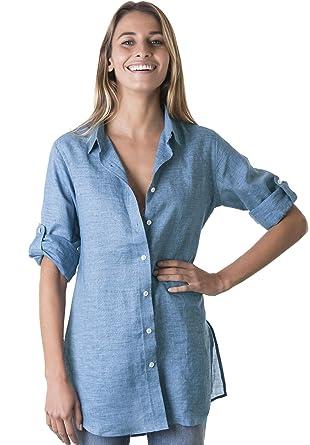 21fb998aa93 CAMIXA Women s Linen Shirt Dress Button-Down Casual Tunic Simple Chic  Coverup XS Blue Melange