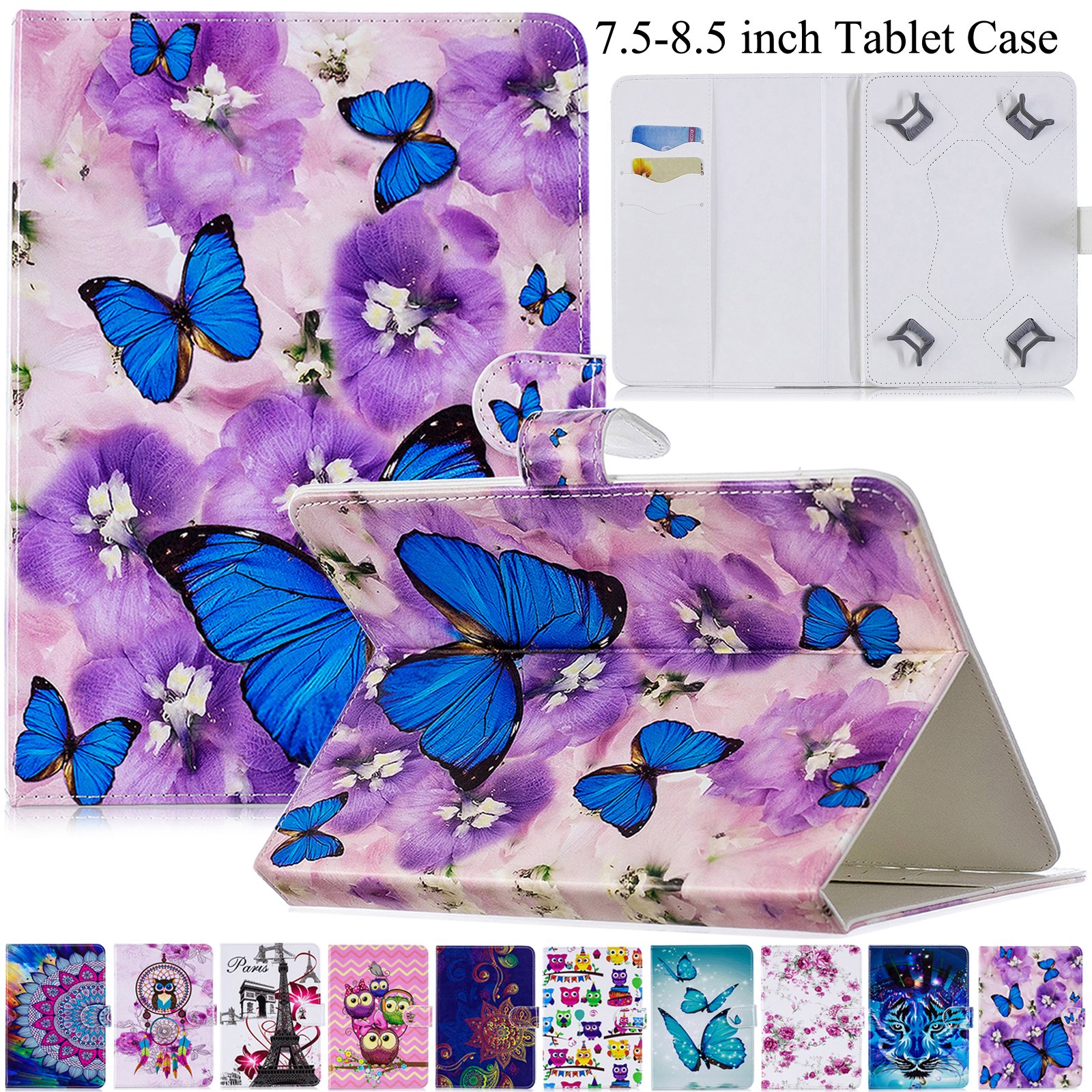 Universal 7.5-8.5 inch Tablet Case, Artyond Multi-Angle Stand Flip Wallet Case Cards Slots Magnetic Buckle Cover iPad Mini,Kindle,Android,Galaxy Tab & Other 7.5-8.5 inch Tablet (Violet)
