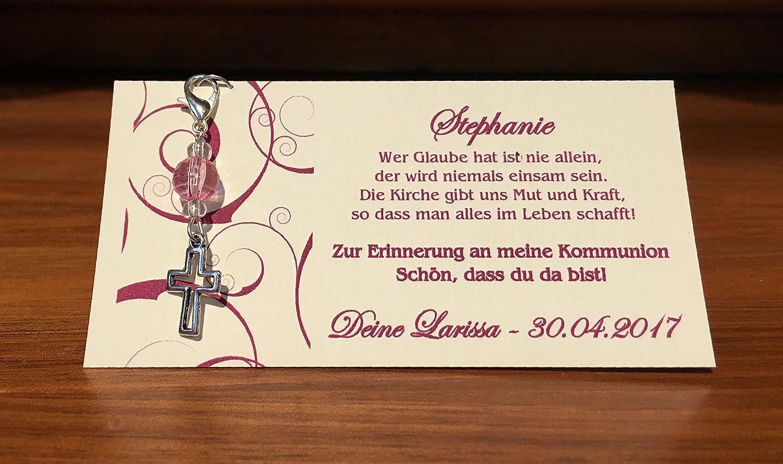 Einladung Einladungskarte Kommunion Konfirmation Firmung Taufe Kreuz brombeer beere dunkel pink