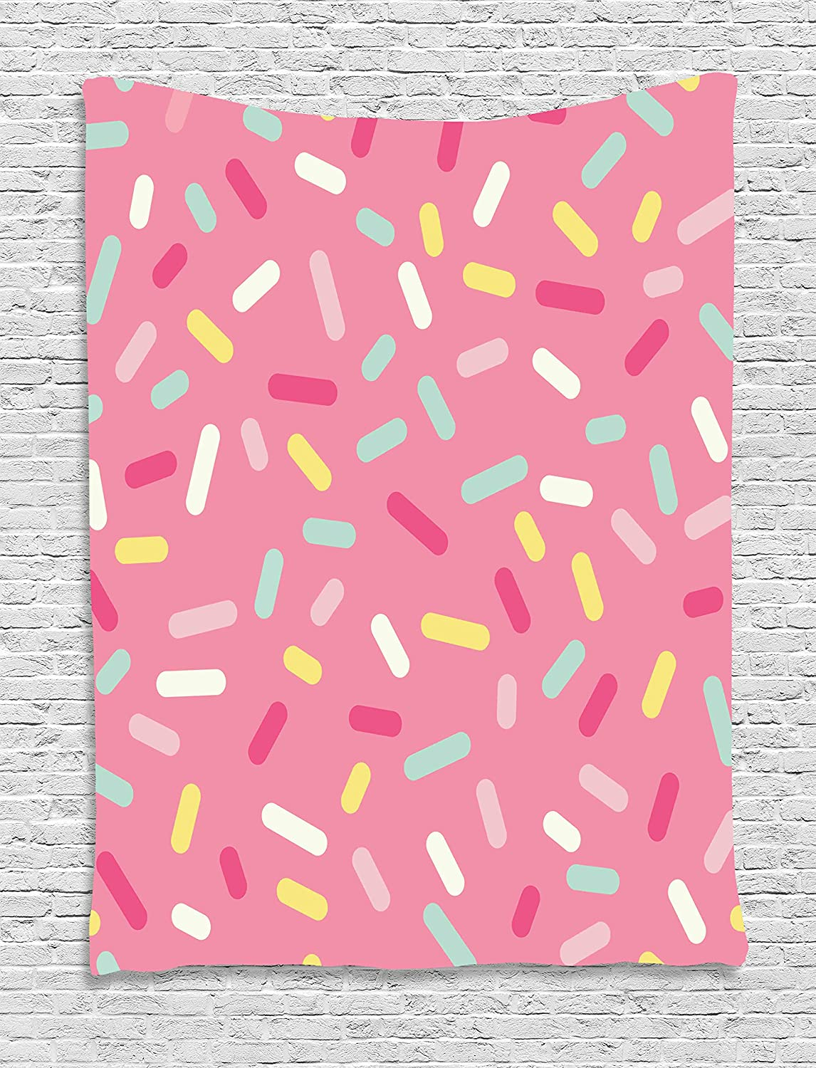 Ambesonne Pink and White Tapestry, Abstract Pattern of Colorful Donut Sprinkles Tasty Food Bakery Theme, Wall Hanging for Bedroom Living Room Dorm, 60