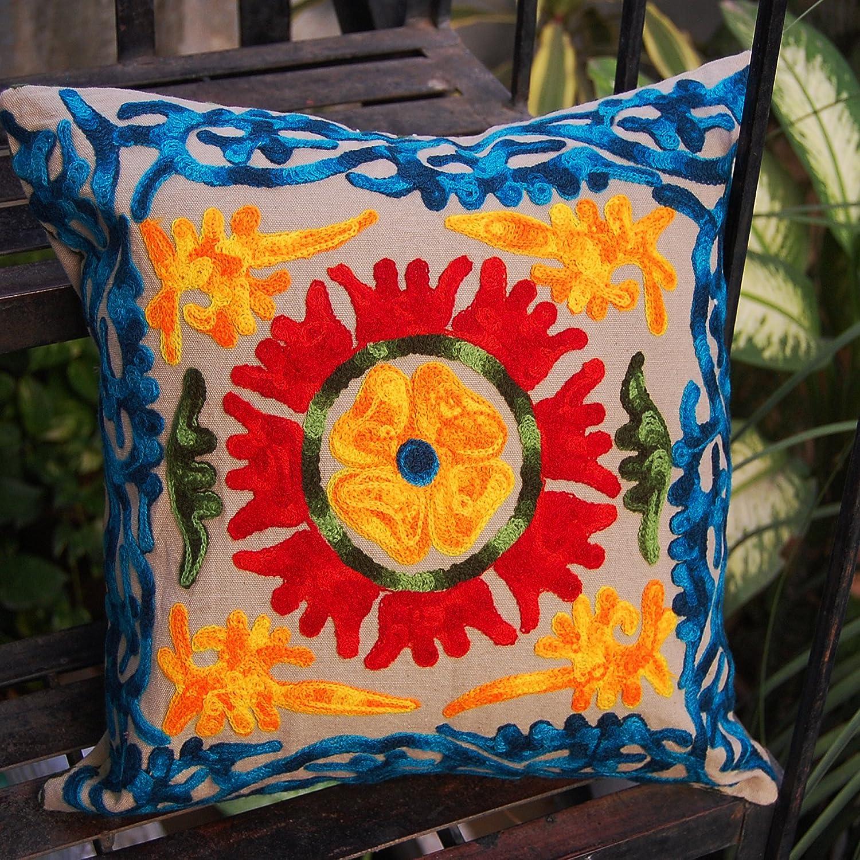 HANDICRAFTOFPINKCITY Suzani手刺繍枕カバーインドの手作りクッションカバーヴィンテージコットンクッション枕カバー16