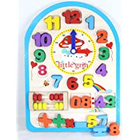 little grin Multifunctional Digital Wooden clock with Movable Hands and Numbers, Mathematical Symbols - Educational and Learning Toys