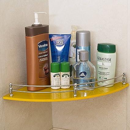 Klaxon Bathroom Corner Glass Shelf - Wall Shelf - 12*12 - Yellow ...