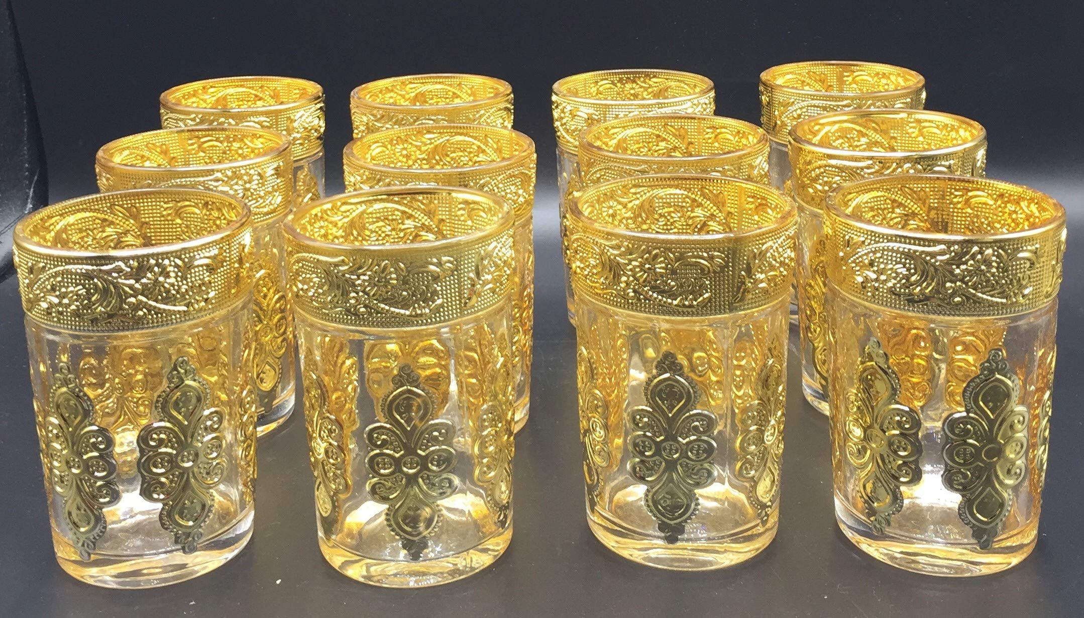 SL 12 Glass Moroccan Tea Glasses (Golden)
