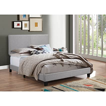 Amazon.com: Upholstered King Size Bed, Contemporary Style ...