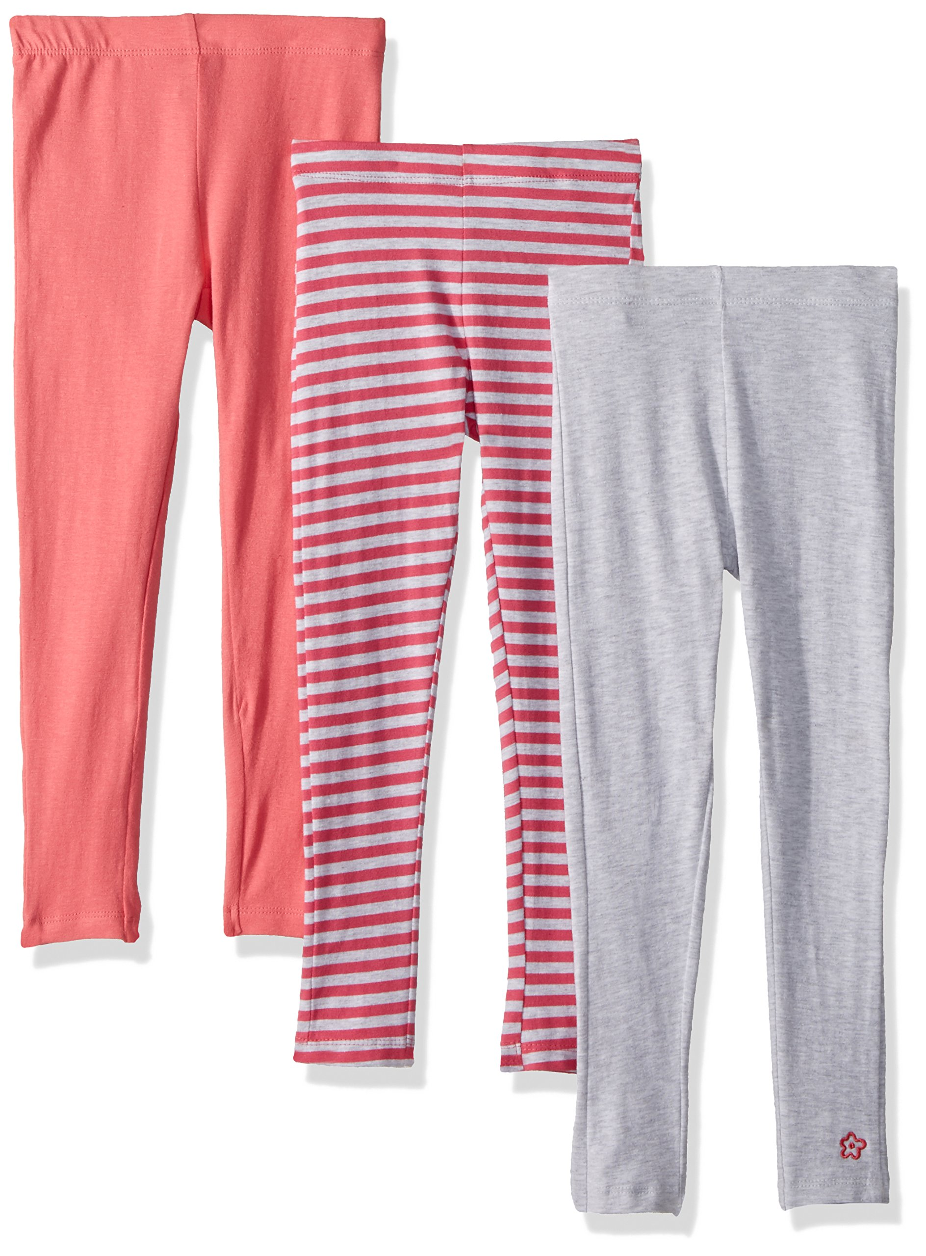 Limited Too Big Girls' 3 Pack Jesey Spandex Legging, Camellia Rose Stripe Light Heather Gray Solid Knit Multi Print, 14/16