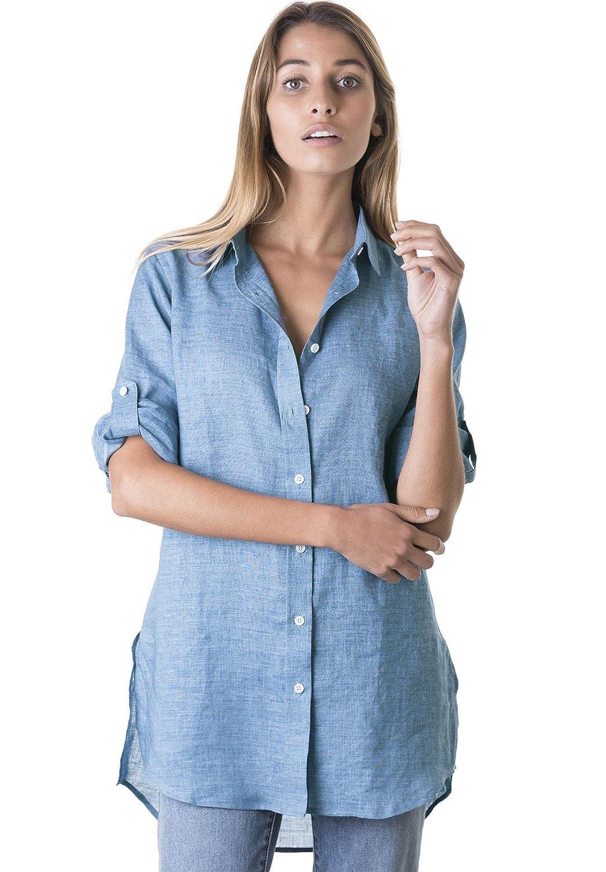 CAMIXA Women\'s Linen Shirt Dress Button-Down Casual Tunic Simple ...