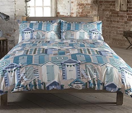Brooks 100% algodón edredón King Size mar de casetas de playa lado rayas azul Aqua