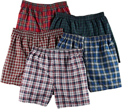 a748a5a59abf Image Unavailable. Image not available for. Color: Hanes Ultimate Men's  TAGLESS® Tartan Boxers with Comfort Flex® Waistband 5-Pack