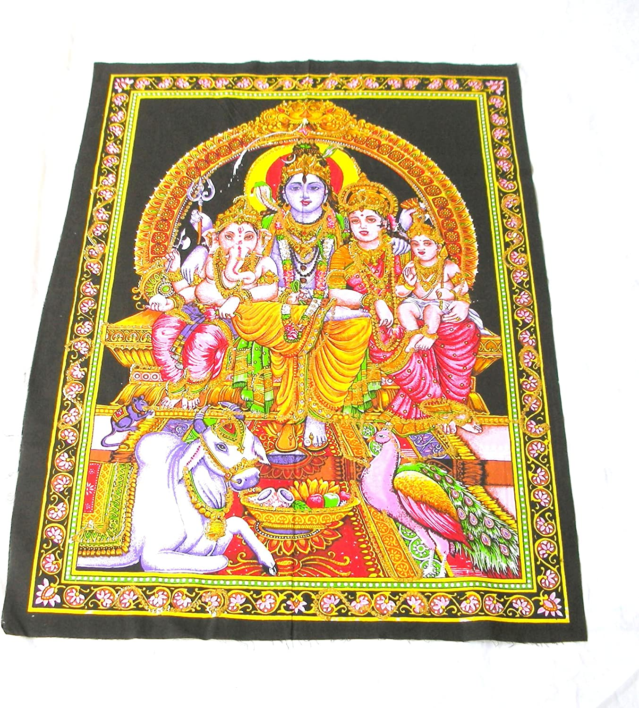 Amazon Com Yapree Handmade Shiva Ganesh And Parvati Family Cotton Tapestry Large 40 X 30 Home Kitchen