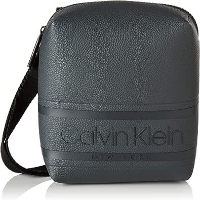 Calvin Klein - Striped Logo Pu Mini Reporter, Shoppers y bolsos de hombro Hombre, Gris (Blackwhite Grey), 1x1x1 cm (W x H L)