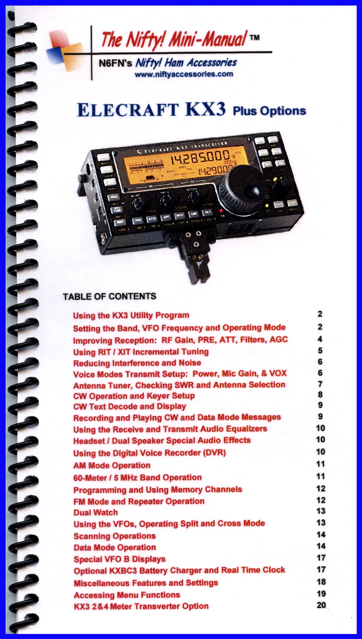 Elecraft KX3 Mini-Manual by Nifty Accessories