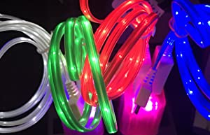 C&C 3FT LED Light-up Charger Data/sync Cable for iPhone 5,5s,5c,6,6plus,iPad 3,4,air 1,2, Mini 1,2,3, Nano 7,Touch 5 (Pink)