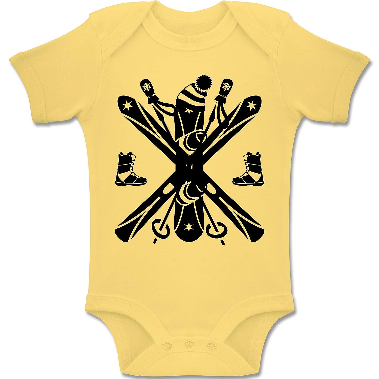 Sport Baby - Ski Snowboard Wintersport - Kurzarm Baby-Strampler / Body für Jungen und Mädchen