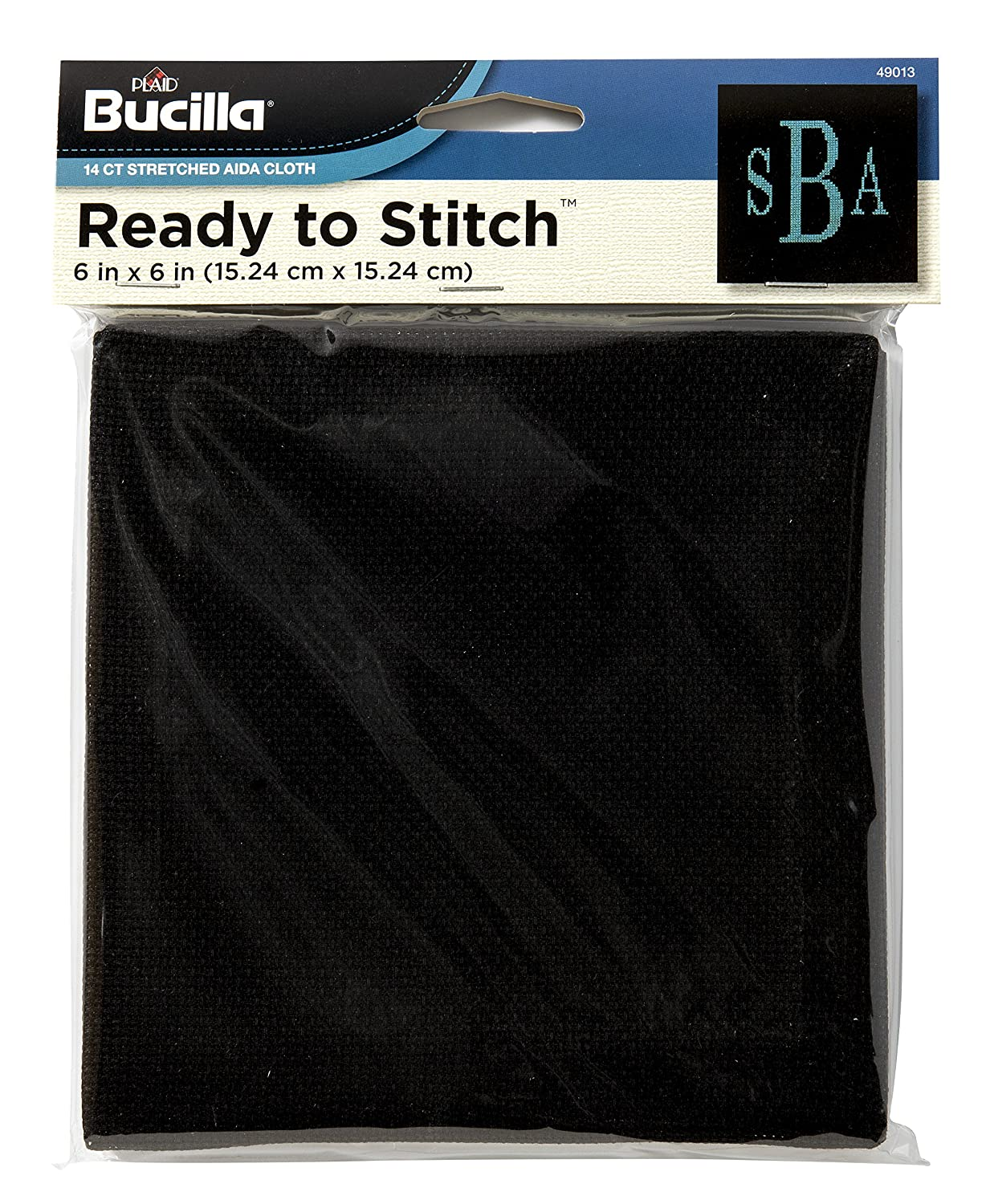 Bucilla Ready to Stitch Aida Cloth, 6 by 6-Inch, Black Plaid Inc. 49013