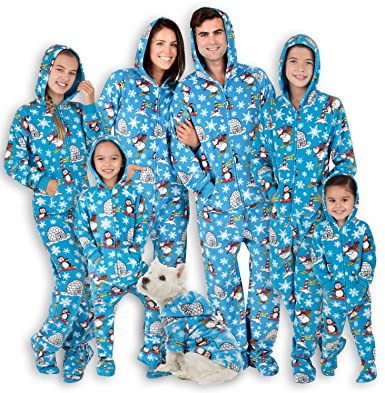 eafade10914a Footed Pajamas Family Matching Polar Adult Hoodie Fleece Onesie - Large Blue
