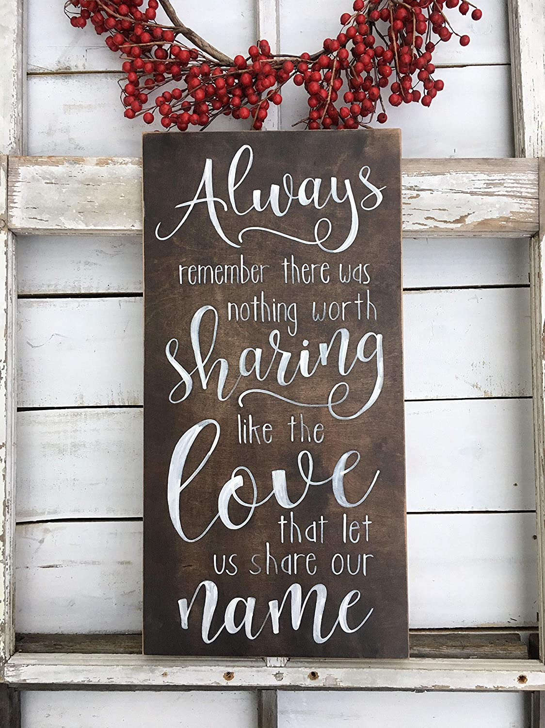 Always Remember There was Nothing Worth Sharing Love Quote Avett Brothers Lyric Song Adoption Day Photo Prop Anniversary Sign Gift Wooden Sign for Home Decor Sayings Wall Plaque Sign