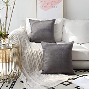 Kevin Textile Set of 2, Classic Durable Checkered Cotton Linen Easy Care Square Throw Pillow Covers Cushion Case with Hidden Zipper for Home & Kitchen, 18x18 Inch (45x45Cm), Dark Gull Gray