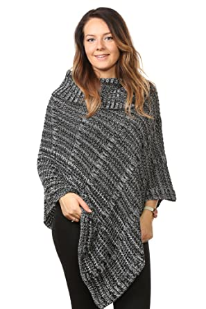 34891a877a53a New Ladies Women s Chunky Cable Knitted Poncho Sweater Jumpers Tops UK Plus  Size (Black-