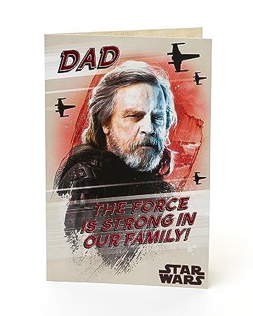 Amazon.com: Dad Tarjeta de cumpleaños de star wars el último ...