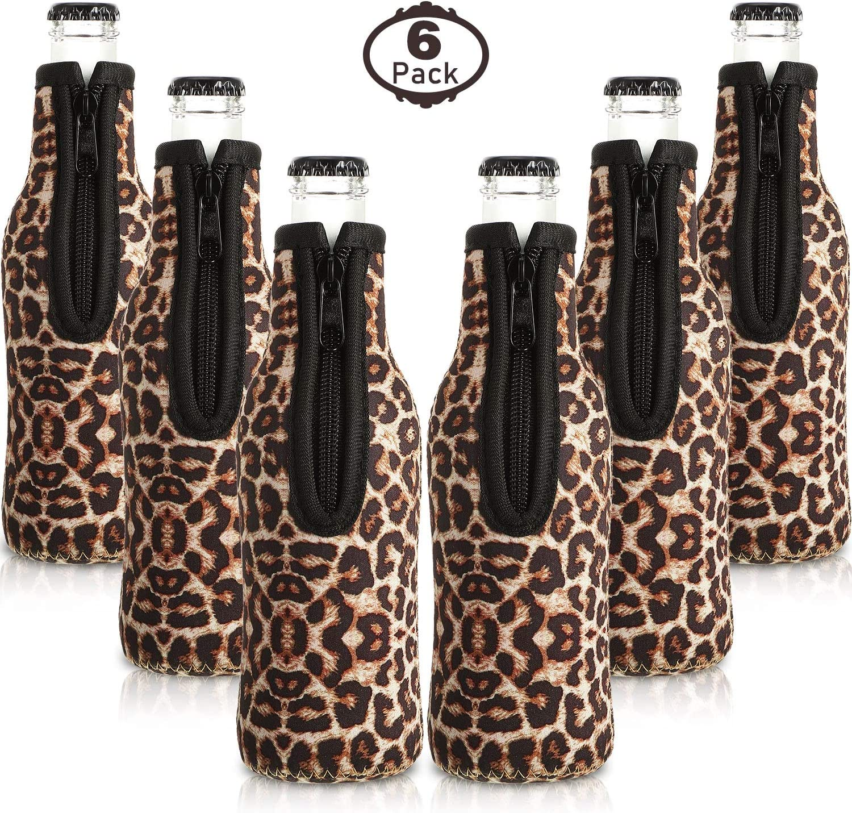 6 Piezas Enfriadores de Botellas de Cerveza con Cremallera de Anillo Cubierta de Cerveza de Neopreno Funda Aislante de Botella de Cerveza para Botellas de 12 oz 330 ml para Fiesta (Leopardo)