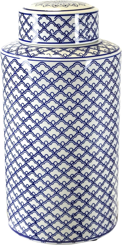 Sagebrook Home VC10466-02 Decorative Covered Jar, Blue/White Ceramic, 8 x 8 x 16 Inches