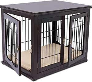 BIRDROCK HOME Decorative Dog Kennel with Pet Bed - Small Dog - Espresso - Double Door - Wooden Wire Dog House - Indoor Pet Crate Side Table