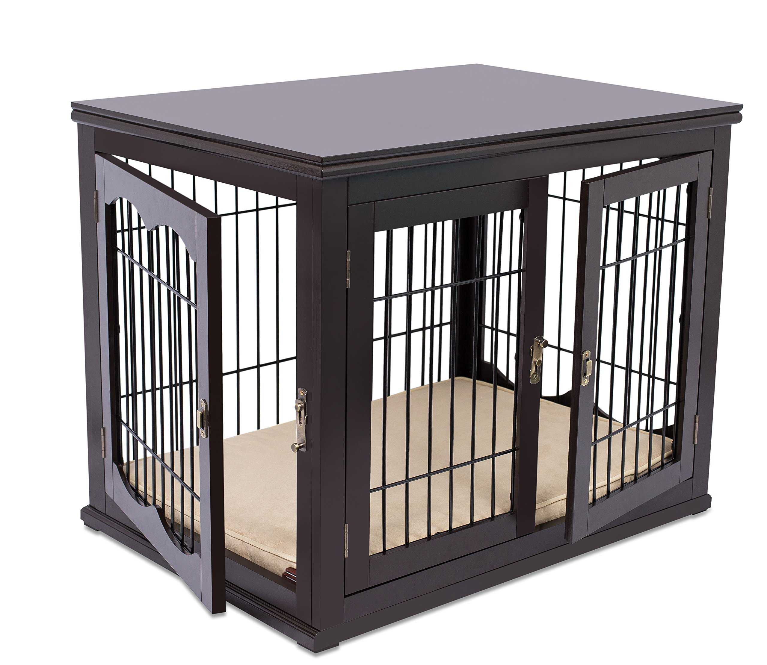Internet's Best Decorative Dog Kennel with Pet Bed   Double Door   Wooden Wire Dog House   Large Indoor Pet Crate Side Table   Espresso