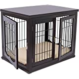 BIRDROCK HOME Decorative Dog Kennel with Pet Bed for Small Dogs - Espresso - Double Door - Wooden Wire Dog House - Indoor Pet