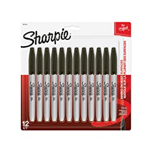 Sharpie Permanent Markers, Fine Point, Black