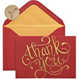 Papyrus Thank You Boxed Cards, Red and Gold (12-Count)