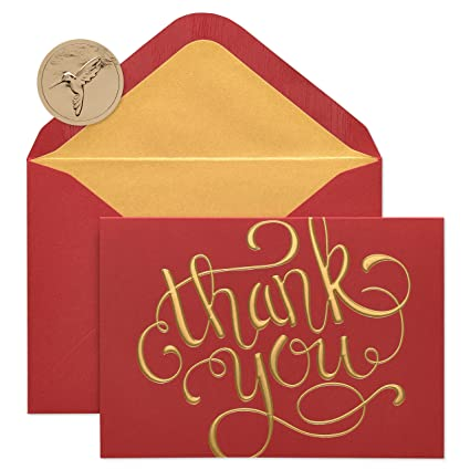 papyrus thank you holiday cards boxed with gold foil lined envelopes 12 count - Papyrus Holiday Cards