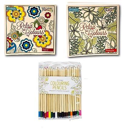 Invero – Set de 2 adultos relajante arte terapia antiestrés para colorear con 100 diseños por