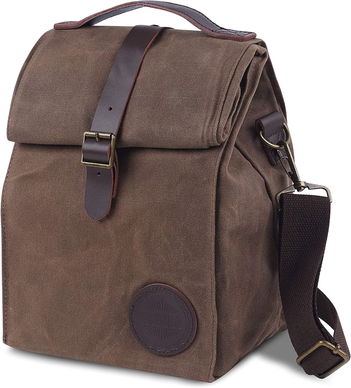 Insulated Waxed Canvas Lunch Bag by ASEBBO, Lunch Box for Women, Men with Genuine Leather Handle and Strong Buckle-Closure to Keep Your Food Cool, Lunch Tote with Adjustable Strap (Brown 2.0 IMPROVED)